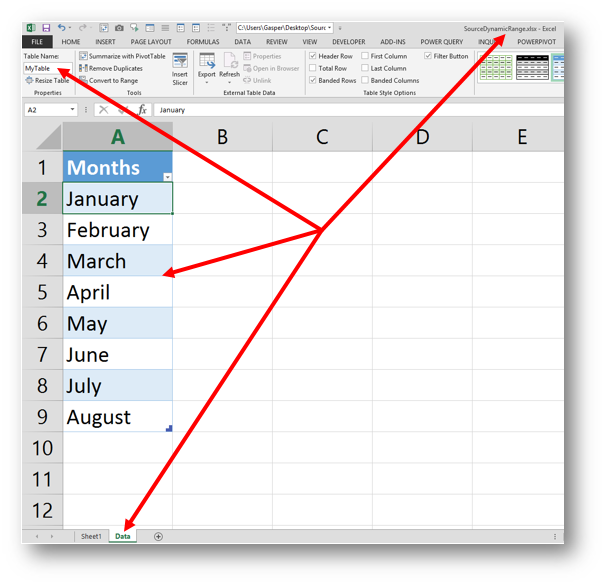 Creating a dynamic Dropdown List with Data Validation from another workbook with a little help from Power Query