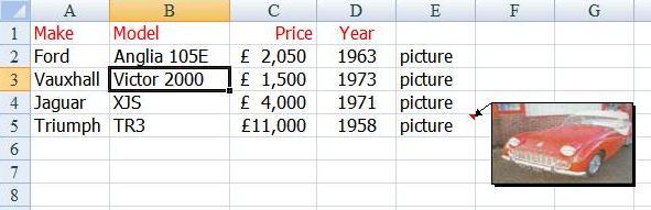 Pop up images in Excel